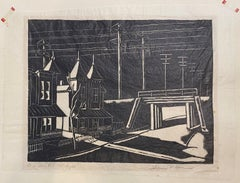 Near Bristol, Late Night, Woodcut print on Japanese Paper by Hobson Pittman