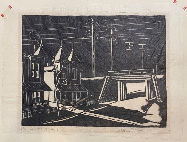 Hobson Pittman Near Bristol, Late Night Woodcut on Japanese paper, 8 ½ x 10 ¾ inches Signed lower left: Hobson Pittman Inscribed lower left: Near Bristol Late Night