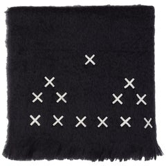 Hocken, Hand Embroidered Black Throw Blanket