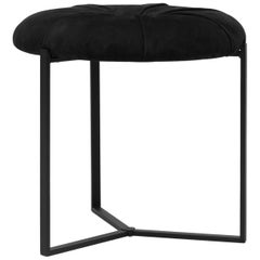 GHYCZY Hocker Pivot T82P Charcoal, Brass aged, Black Fabric, Rounded Chair