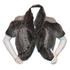 Hockley Grey Chinchilla and Fox Knitted Bolero w/ sequin shoulders-Sz 44-NWT