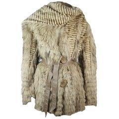 Hockley Leather Trimmed Belted Fur Jacket