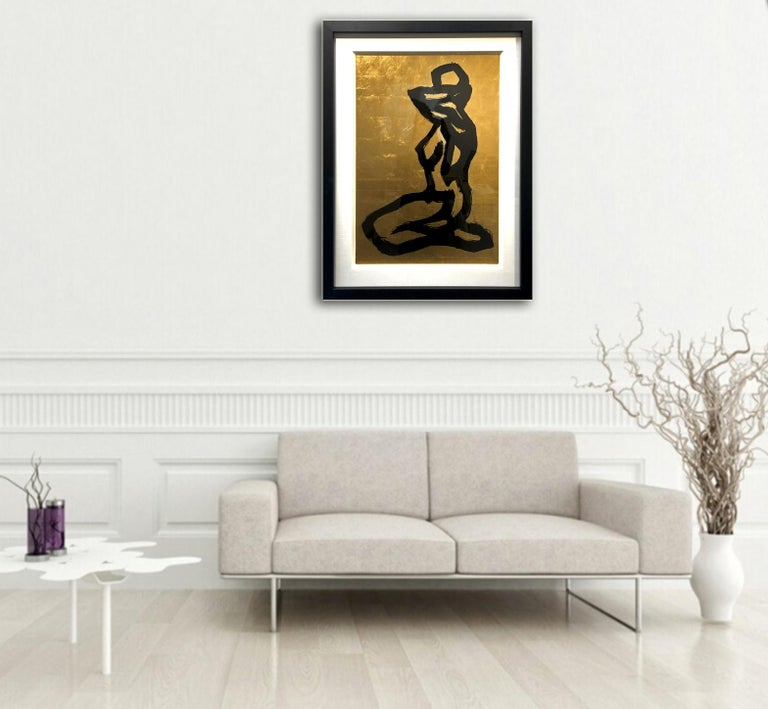 Bond Girl by Hock Tan - Modern Abstract Gold leaf, black ink   For Sale 2