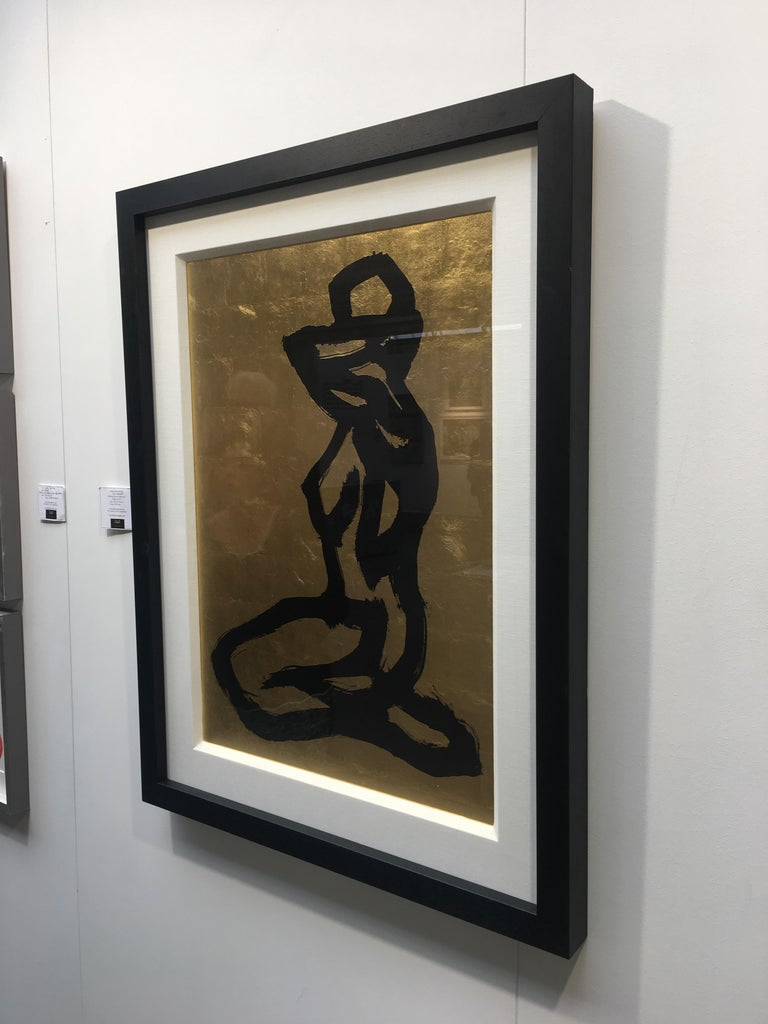 Bond Girl by Hock Tan - Modern Abstract Gold leaf, black ink   For Sale 3