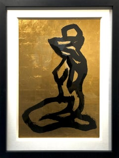 Bond Girl - Modern Abstract silver leaf, black ink figurative painting