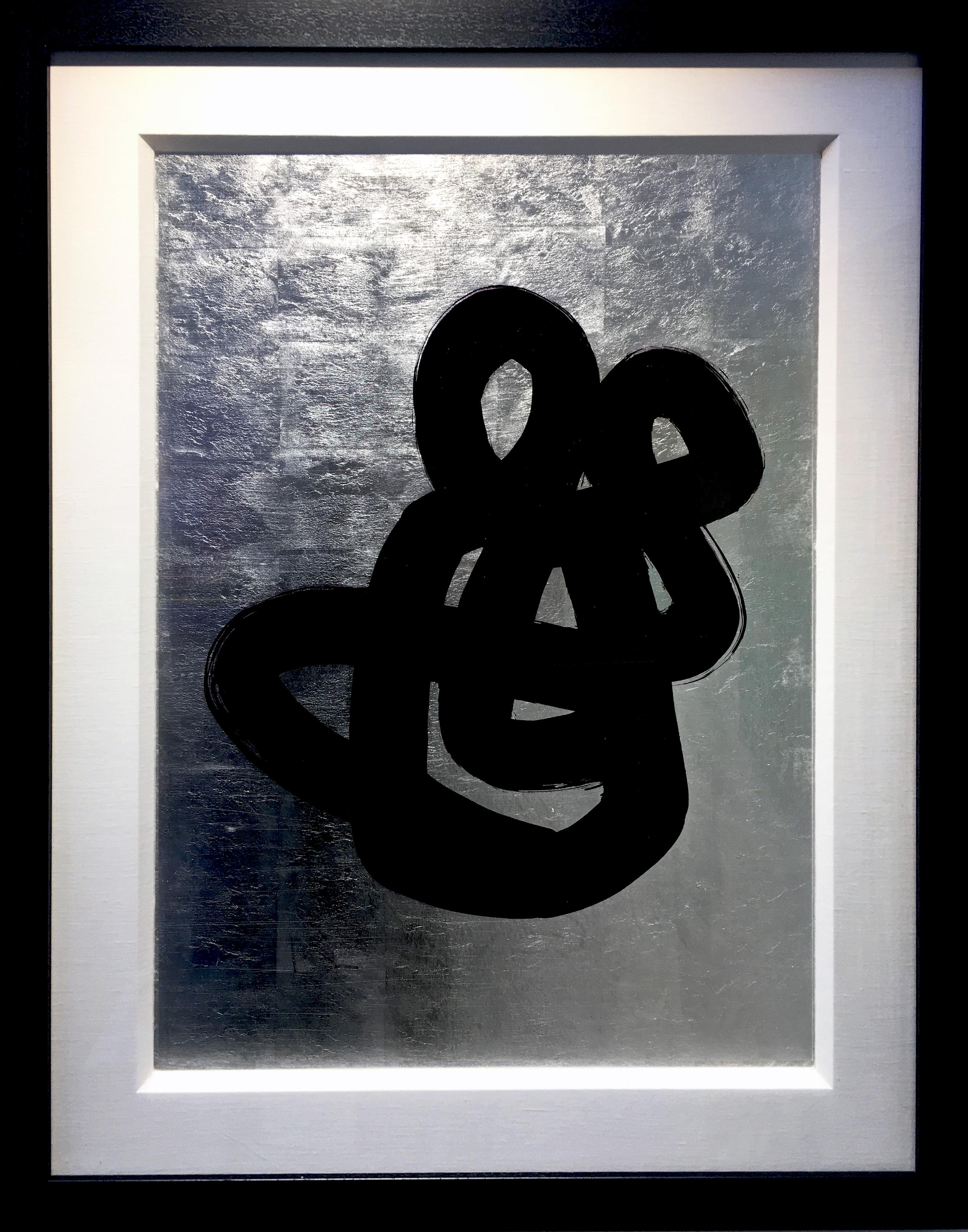 Love by Hock Tee Tan Modern Abstract silver leaf, black ink figurative painting