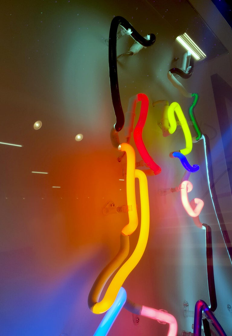 Neon After Modigliani - Abstract colorful Neon artwork by Hock Tee Tan For Sale 9
