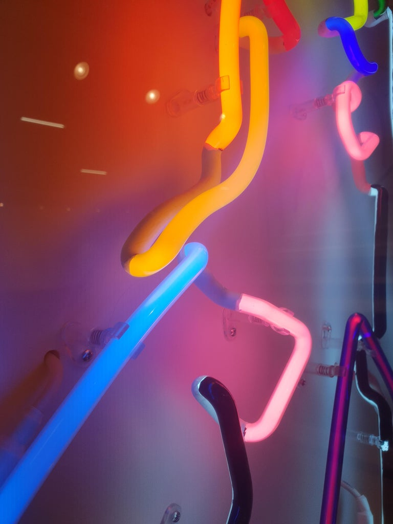 Neon After Modigliani - Abstract colorful Neon artwork by Hock Tee Tan For Sale 10