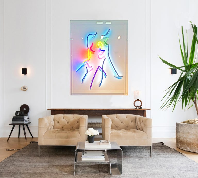 Neon After Modigliani - Abstract colorful Neon artwork by Hock Tee Tan - Painting by Hocktee Tan