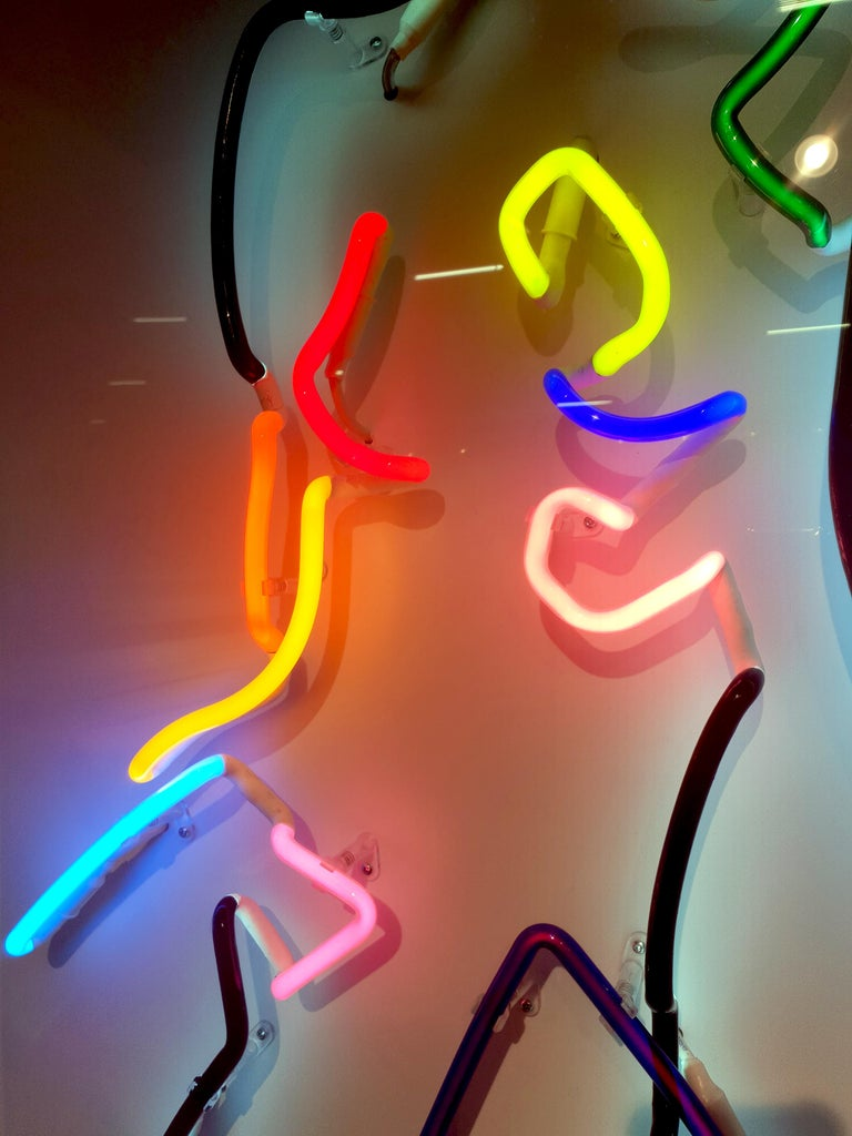 Neon After Modigliani - Abstract colorful Neon artwork by Hock Tee Tan For Sale 1