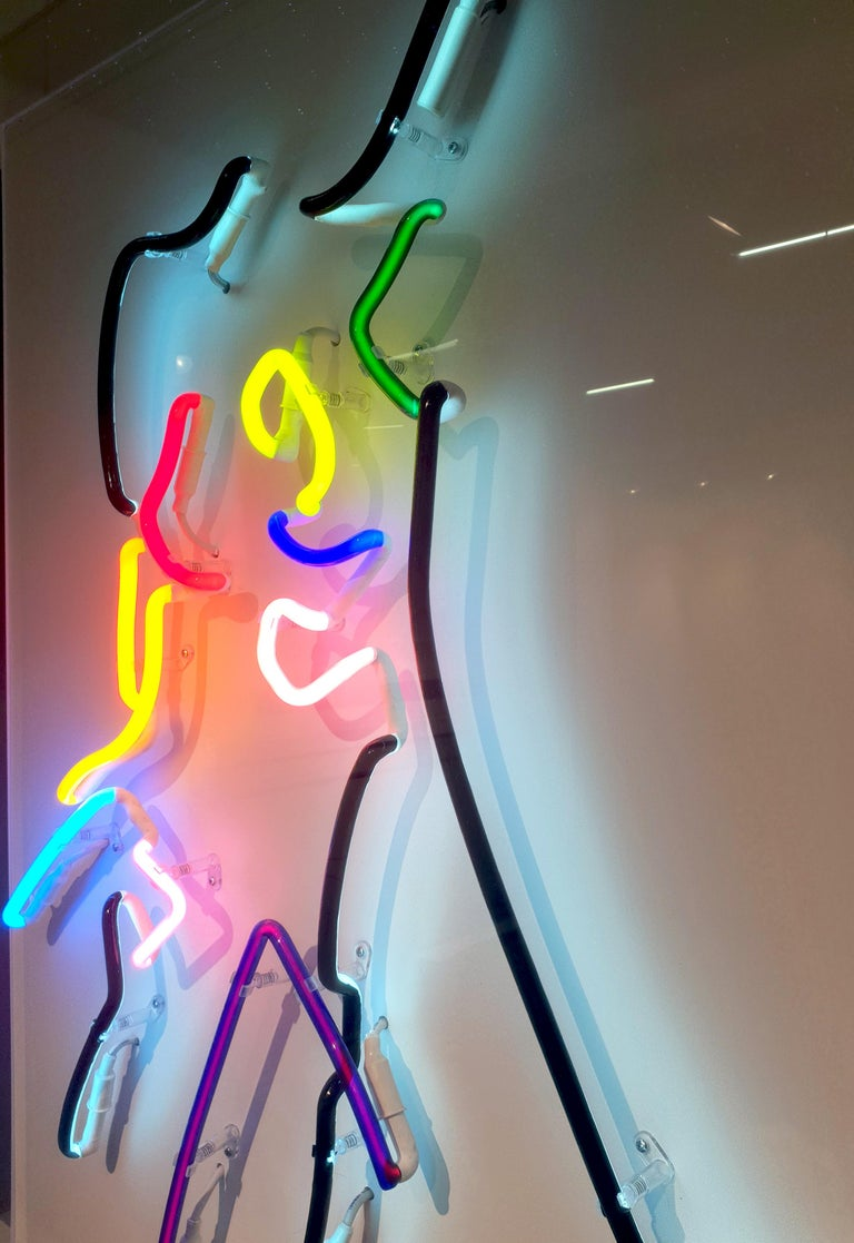 Neon After Modigliani - Abstract colorful Neon artwork by Hock Tee Tan For Sale 4