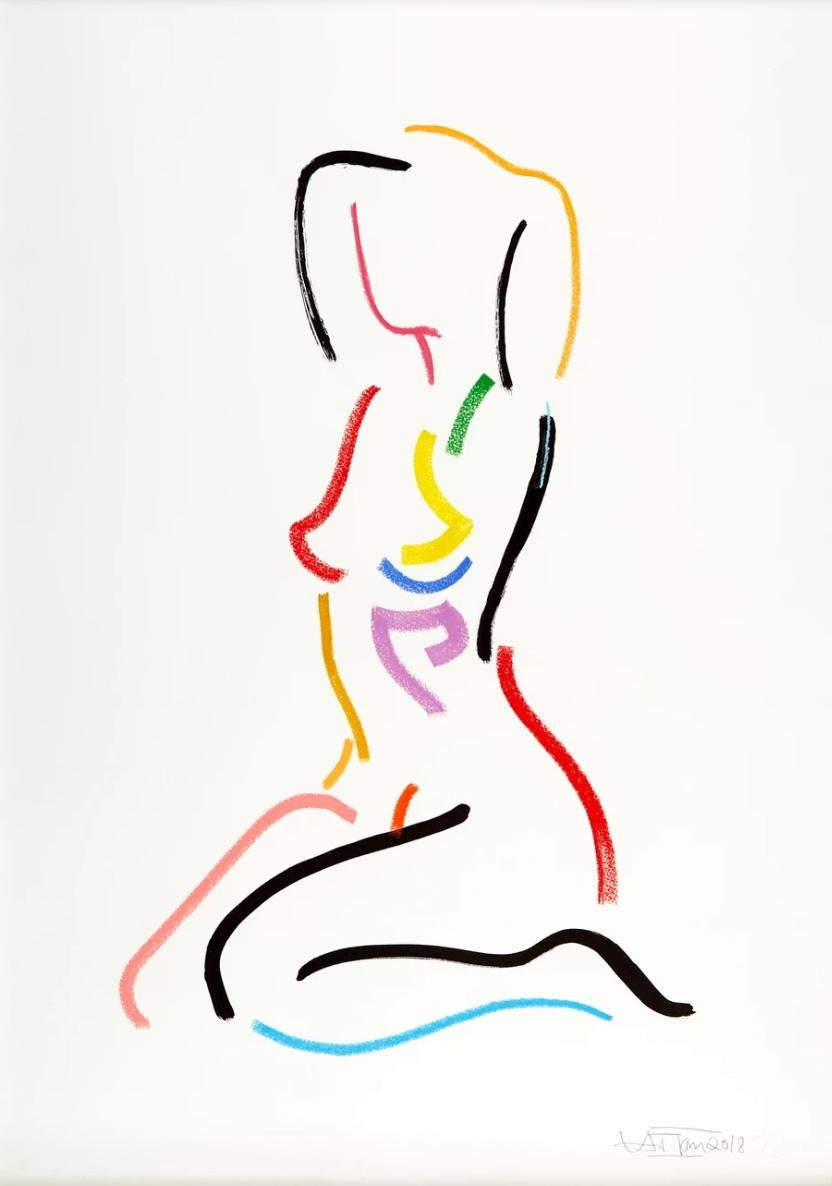 Sitting Nude After Modigliani - Modern Abstract colorful figurative painting