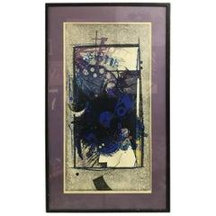 "Hodaka Yoshida Japanese Woodblock Print ""Cause, Blue"""