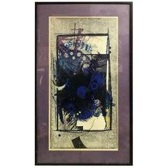 """Hodaka Yoshida Signed Limited Edition Japanese Woodblock Print """"Cause, Blue"""""""