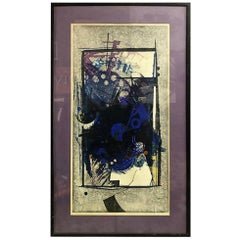 "Hodaka Yoshida Signed Limited Edition Japanese Woodblock Print ""Cause, Blue"""