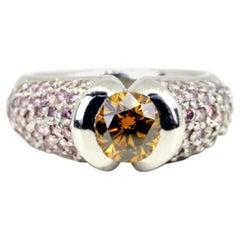 Hofer Certified 1.33 Cognac Diamond and Intense Pink Diamonds Ring
