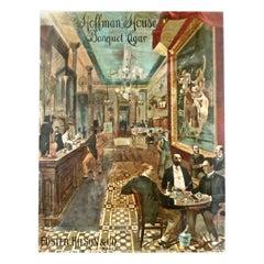 """Hoffman House Banquet Cigar"" Hand Painted Lithograph American circa 1892 'Rare'"