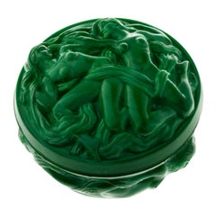 Hoffmann and Schlevogt Art Nouveau Malachite Glass Trinket Box