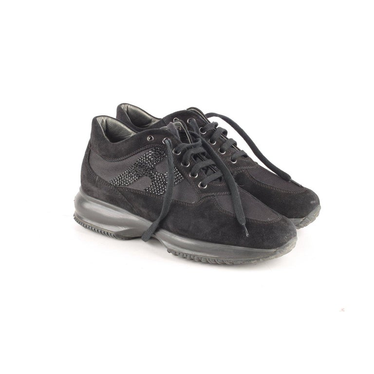 Black Hogan Interactive Sneakers with Rhinestones 38 For Sale