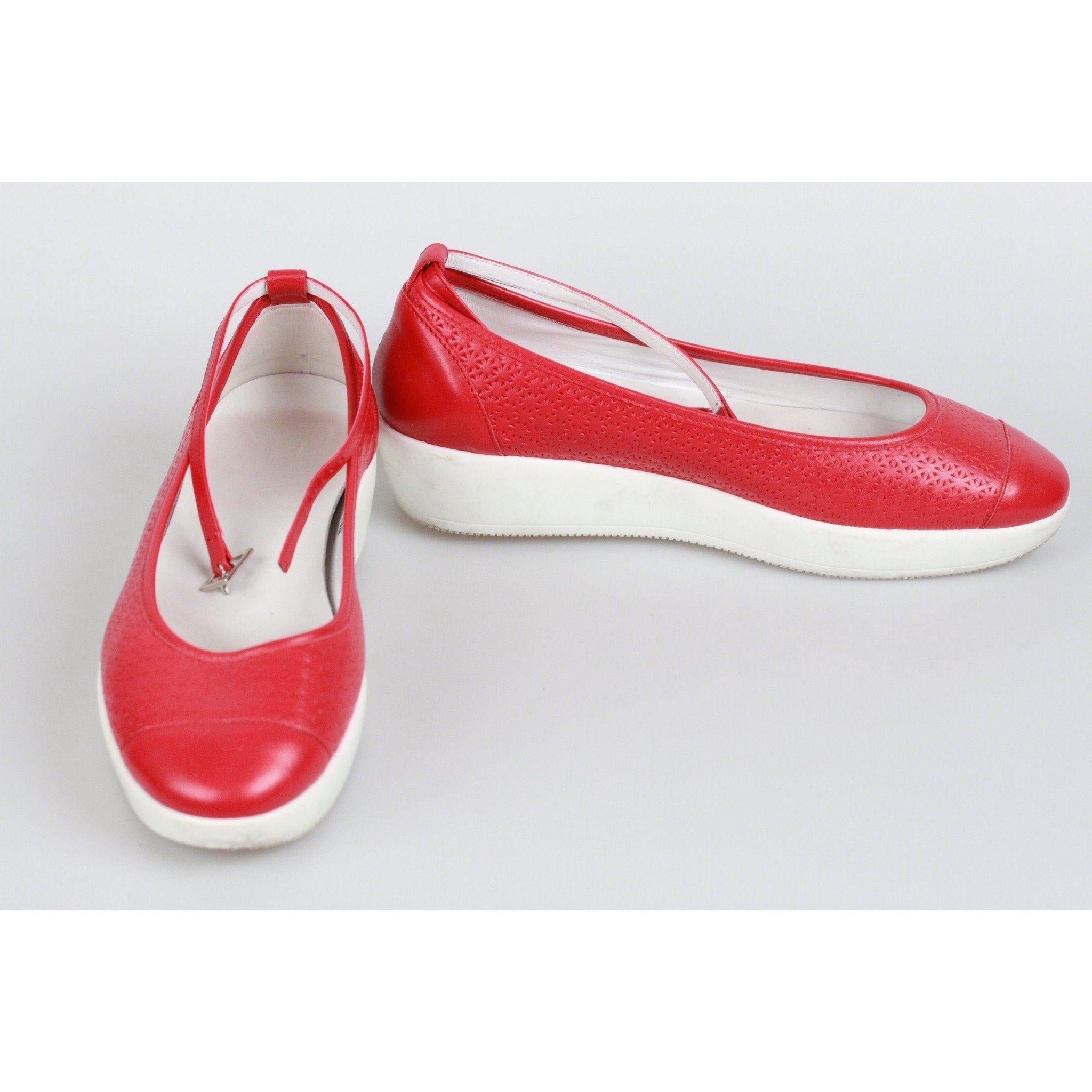 HOGAN Red Leather ZEPPA FASHION Ballerina Shoes SIZE 37 For Sale ...