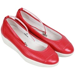 HOGAN Red Leather ZEPPA FASHION Ballerina Shoes SIZE 37