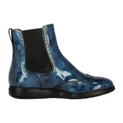 Hogan Woman Ankle boots Navy Leather IT 37.5