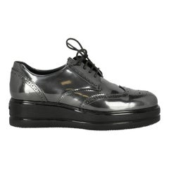 Hogan Woman Lace-up Silver Leather IT 39