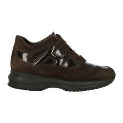 Hogan Woman Sneakers Brown Leather IT 37