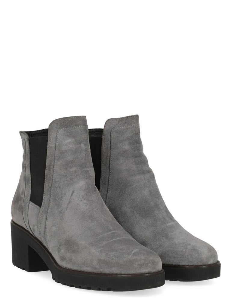 Product Description: Ankle boots, leather, solid color, round toe, branded insole, block heel, mid heel  Includes: Box  Product Condition: Very Good Heel: negligible marks. Sole: negligible signs of use. Upper: negligible abrasions, slightly visible