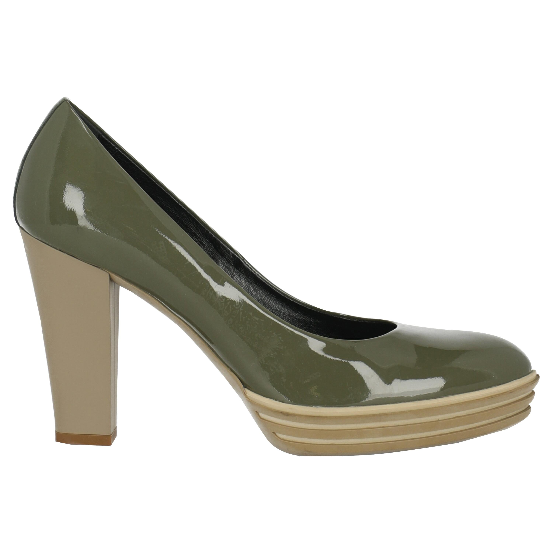Hogan Women  Pumps Green Leather IT 39
