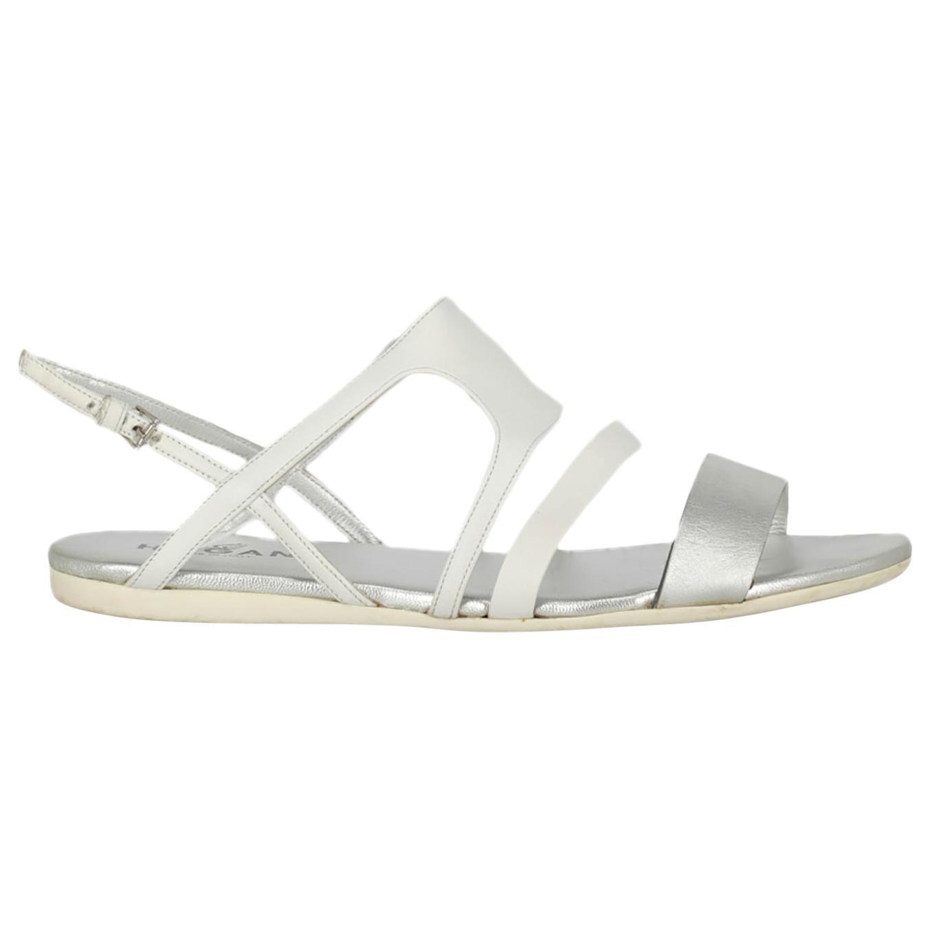 Hogan  Women   Sandals  Silver, White Leather EU 39.5