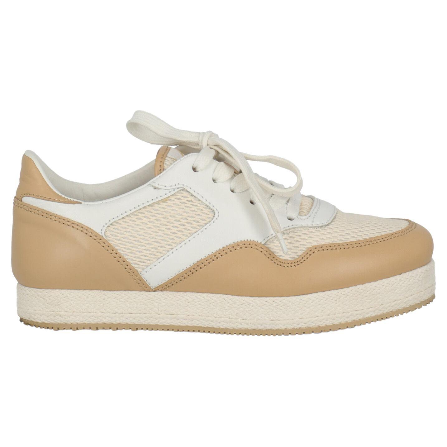 Hogan Women Sneakers Beige Leather IT 37