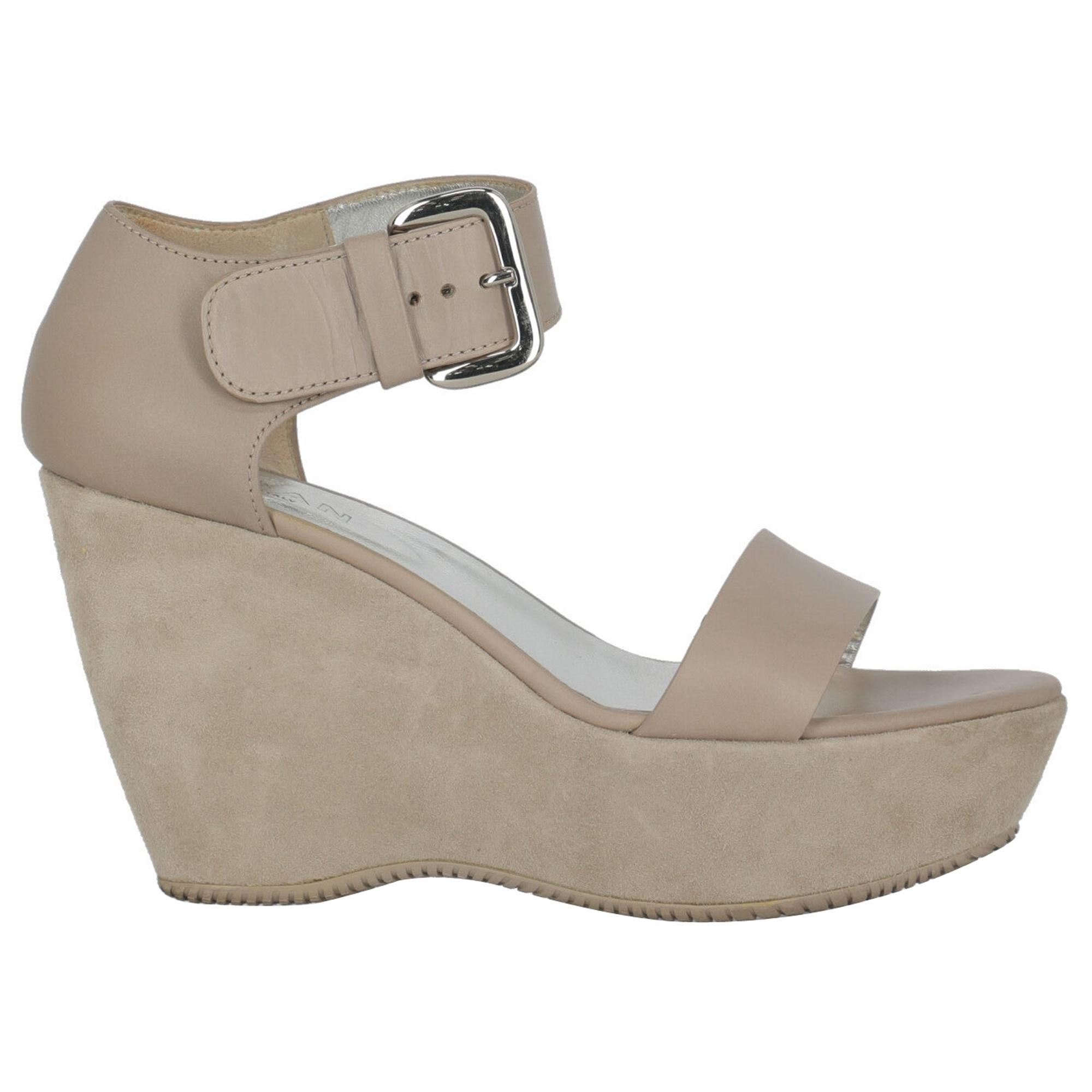 Hogan Women  Wedges Grey Leather IT 37