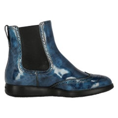 Hogan Women's Ankle Boots Navy Leather Size IT 37.5