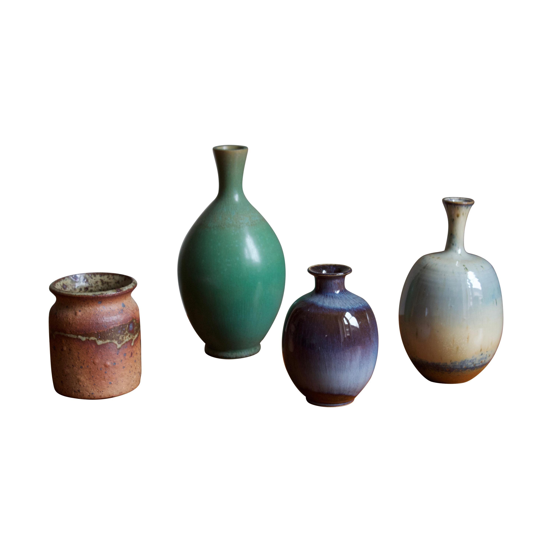 Höganäs, 4 Vases, Glazed Stoneware, Sweden, 1960s