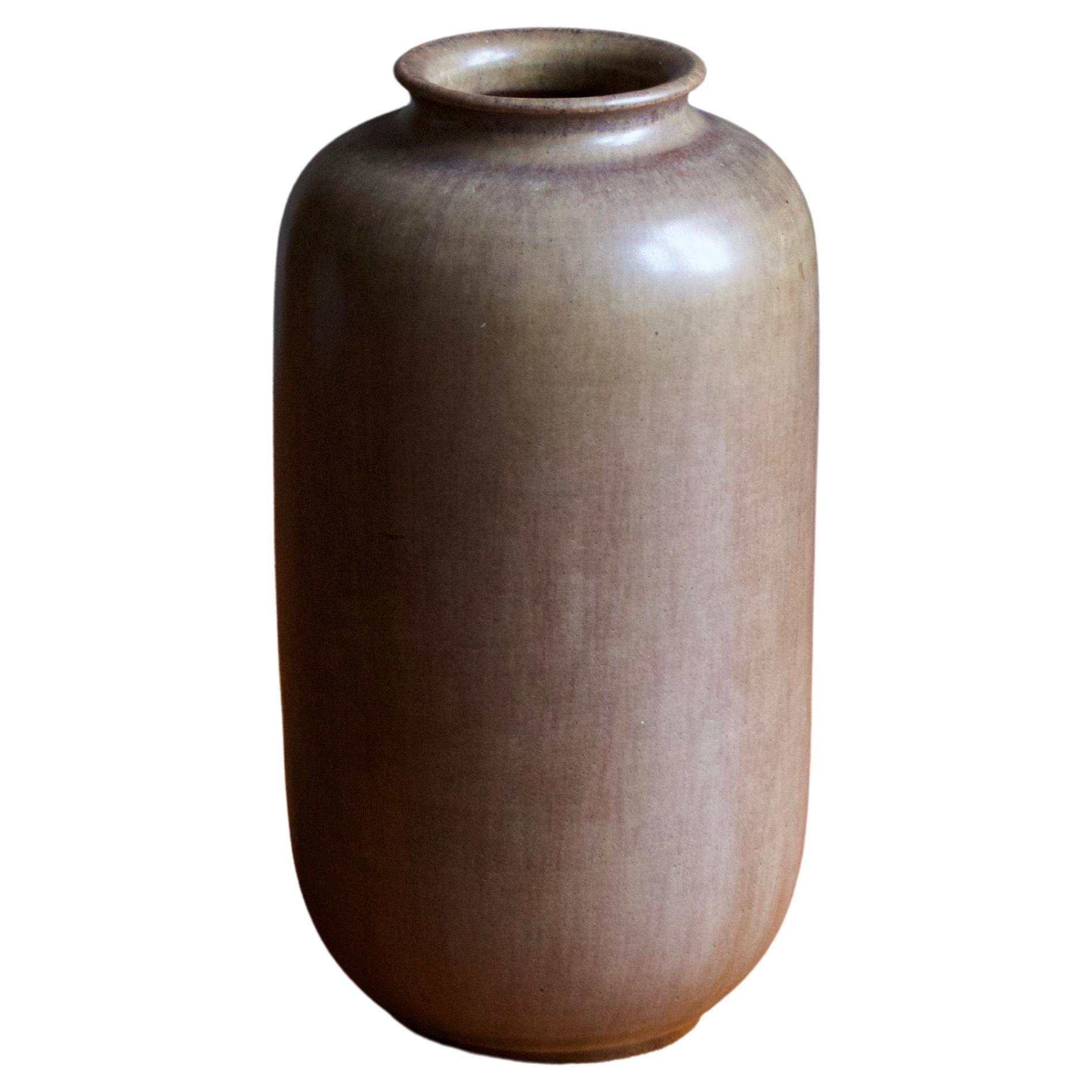 Höganäs Keramik, Vase, Brown Glazed Stoneware, Sweden, 1960s