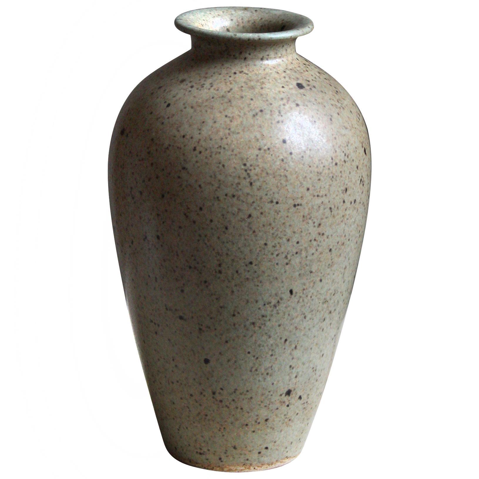 Höganäs Keramik, Vase, Grey Beige Glazed Stoneware, Sweden, 1960s