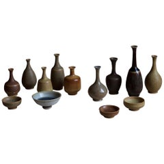 Höganäs, Miniature Vases and Bowls, Glazed Stoneware, Signed, Sweden, 1960s