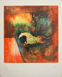 Abstract Horse Lithograph, Limited Edition Artist Signed Print
