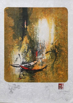 Red Boats on Orange, Surreal Lithograph by Lebadang