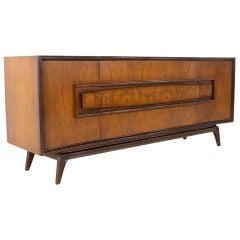 Hoke Wood Products Mid Century Walnut and Burlwood 9 Drawer Lowboy Dresser