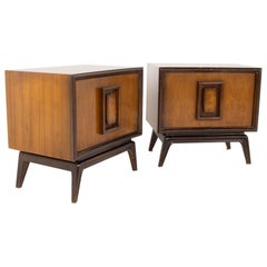 Hoke Wood Products Mid Century Walnut and Burlwood Nightstands, a Pair