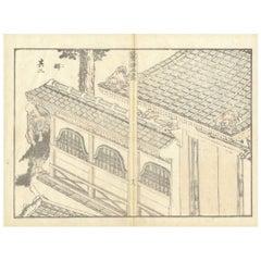 Hokusai 19th Century Ukiyo-E Japanese Woodblock Print Manga Architecture Diptych