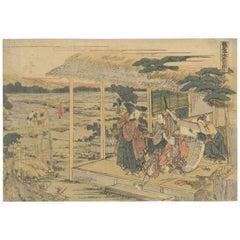 Hokusai Katsushika, Kanadehon Chushingura, Samurai, Original Woodblock Print