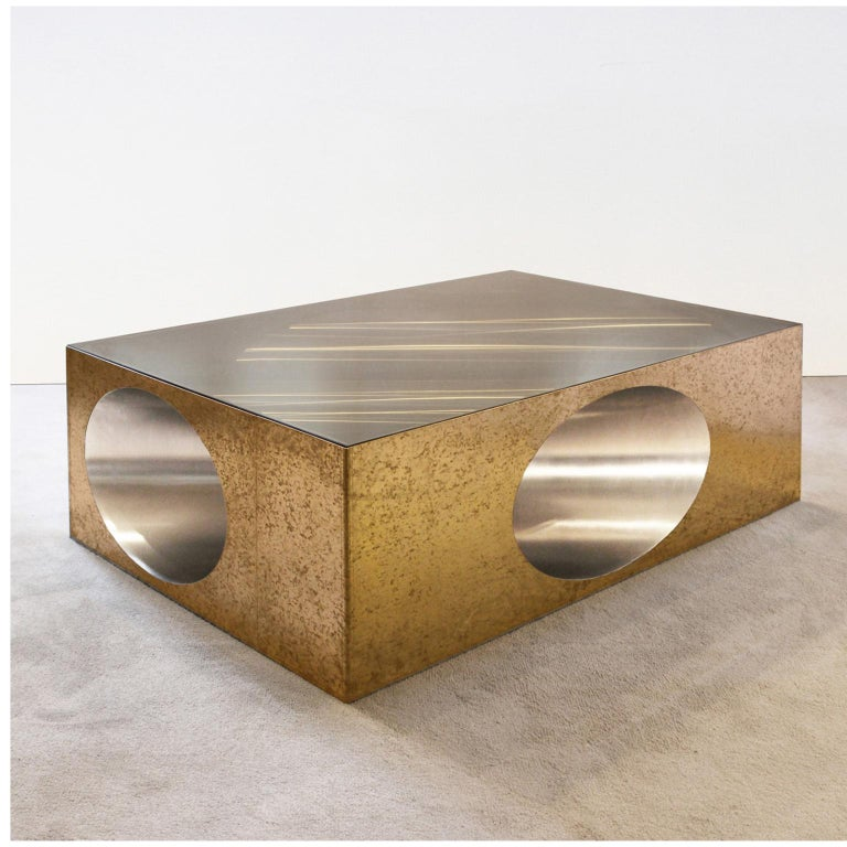 Hol-low table by Christian Zahr Dimensions: W 120 x D 80 x H 40 cm Materials: Brass- Brass tin lined inside- Tainted glass  Each Piece is Handmade.  Christian Zahr studied architecture at the Academie Libanaise des Beaux Arts, Beirut, Lebanon.
