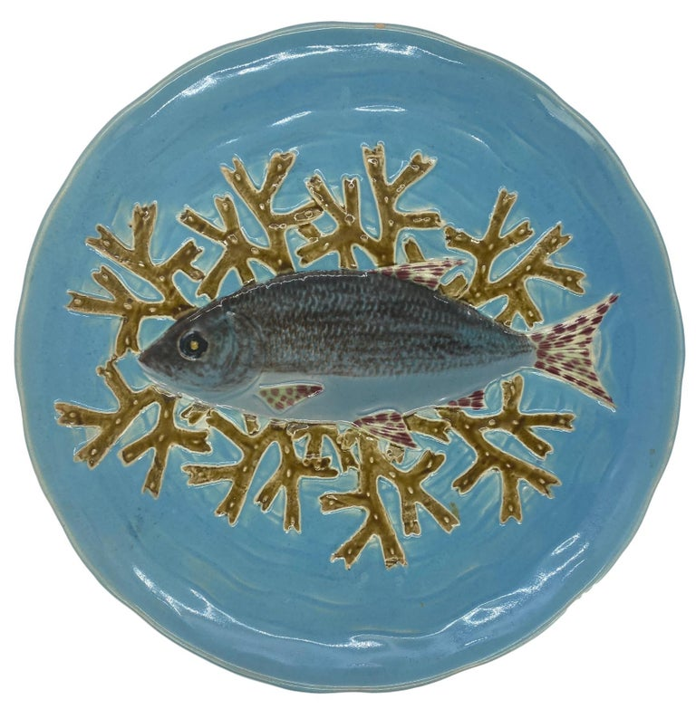 Holdcroft Majolica 7-Piece Salmon Service, Turquoise, English, circa 1875 For Sale 5