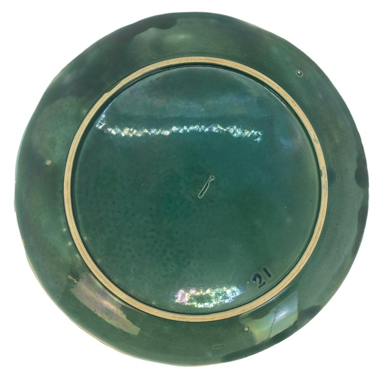Holdcroft Majolica 7-Piece Salmon Service, Turquoise, English, circa 1875 For Sale 7