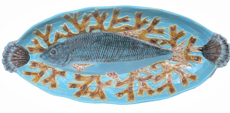Victorian Holdcroft Majolica 7-Piece Salmon Service, Turquoise, English, circa 1875 For Sale
