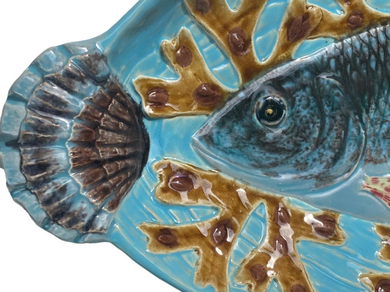 Holdcroft Majolica 7-Piece Salmon Service, Turquoise, English, circa 1875 In Good Condition For Sale In Banner Elk, NC