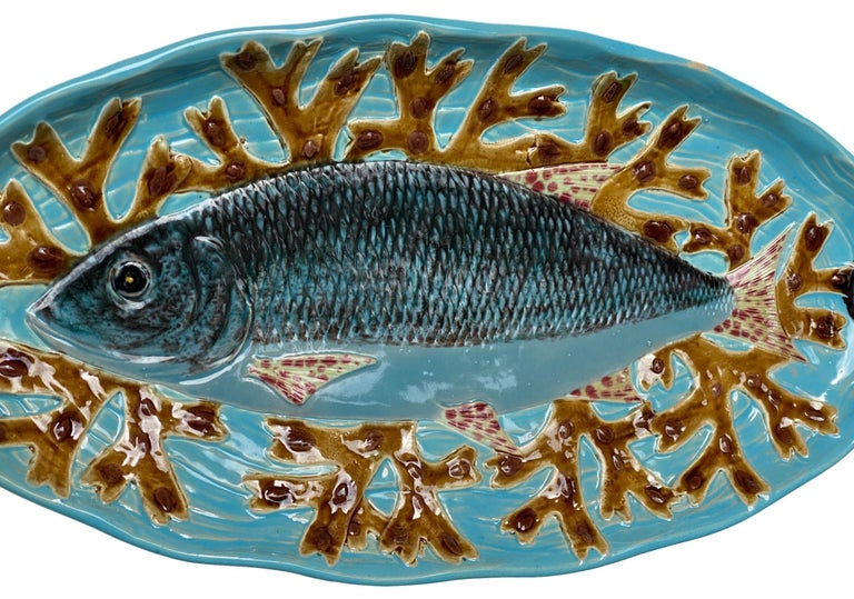 19th Century Holdcroft Majolica 7-Piece Salmon Service, Turquoise, English, circa 1875 For Sale